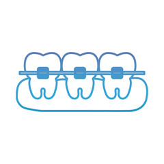 teeth with brakets icon over white background vector illustration