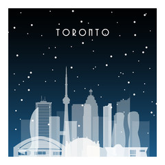 Winter night in Toronto. Night city in flat style for banner, poster, illustration, game, background.