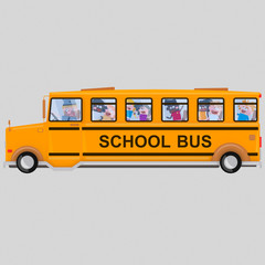 Children into school bus. Isolate. Easy background remove. Easy combine! For custom illustration contact me.