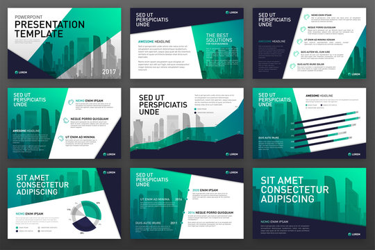 Business presentation templates set. Use for powerpoint background, keynote template, ppt layout, brochure design, website slider, landing page, corporate annual report, brochure cover.