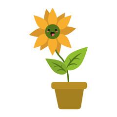 Sunflower in vase cute kawaii cartoon vector illustration