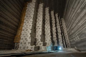 Big open cavern in the underground salt mine shaft