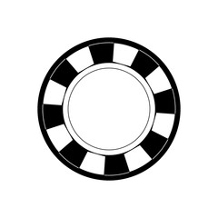 fflat line monochromatic casino chips over white background vector illustration