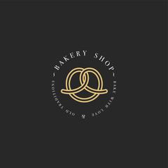 Vector design template and emblem - pretzel bake icon for bakery. Sweet shop.