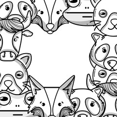 cute heads of wilds animals background