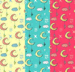 Set of three colorful patterns with crescent moon, starts, clouds and decorative elements, Vector illustration for use as wallpaper, invitation, fabric, textile, texture and wrapping.