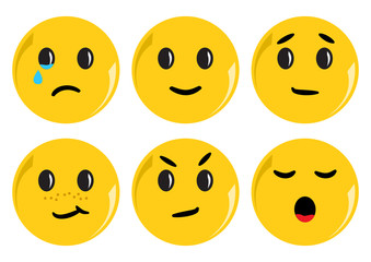 Set of yellow smileys with different emotions. Vector illustration