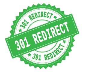301 REDIRECT green text round stamp, with zig zag border.