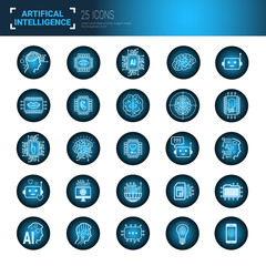 Set Of Icons Over Blue Circuit Motherboard Background Artificial Intelligence And Modern Technology Concept Vector Illustration