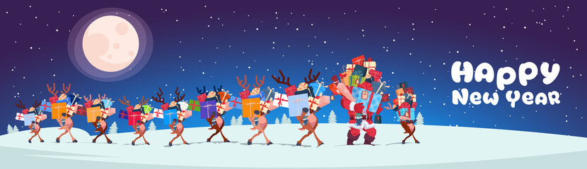 Santa With Reindeers Carry Stack Of Presents Outdoors At Night Horizontal Happy New Year Banner Design Flat Vector Illustration