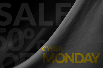 Cyber Monday Promotional Concept on Fabric background