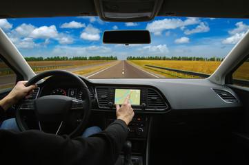Man using GPS navigation