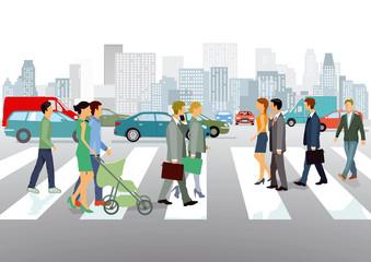 Personen auf einer Straßenkreuzung