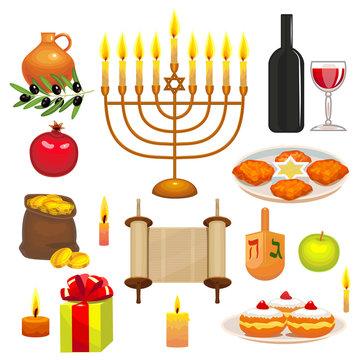 Set of Hanukkah Celebration Elements. Colorful Objects in Cartoon Style. Vector Illustration of Jewish Holiday Symbols