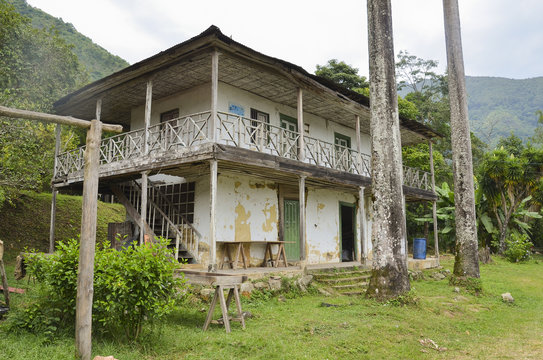 Old colombian coffee farm house in decay