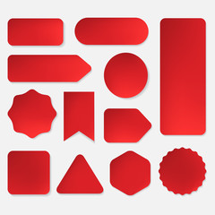 set of red paper stickers in many shapes design. banner and label collection.