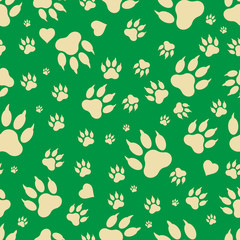Seamless pattern of traces of dog's paws. Footprints of a dog's paws isolated on a green background. Vector. Textiles, background, packaging, printing, website