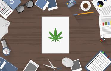 Cannabis - Dokument auf Schreibtisch