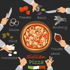 Sicilian recipe pizza constructor on black wood background