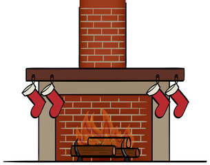 Fireplace with hanging Stockings