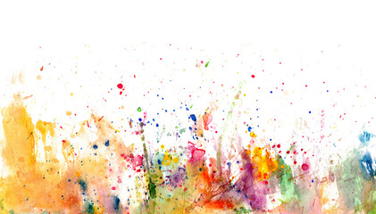 Splatters and stains on white paper - watercolor artistic background