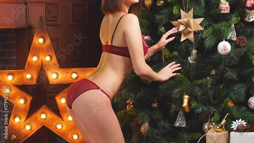 fucking awesome brunette under the christmas tree  476326