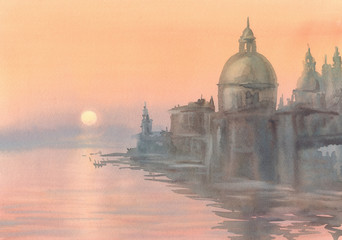 Venice silhouette in the morning mist watercolor