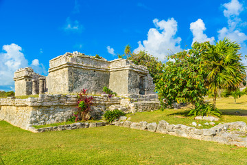 Temple ruins in Tulum of the Ancient Maya Archeological Site in Yucatan, Riviera Maya, Mexico