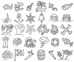 Hand drawn doodle Boat and Sea set Vector illustration boat icons sea life concept elements Ship symbols collection Marine life. Vector eps 10.