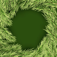 Merry Christmas Template frame of fir branches. EPS 10 vector