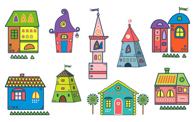 Set of the stylized houses. Ten fantastic lodges, fabulous pictures for children. It can be used for websites, children's magazines and advertisment. Vector illustration.