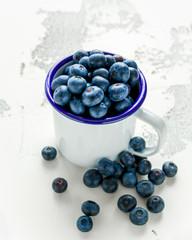 Freshly picked Blueberries in vintage mug with green leaves on top