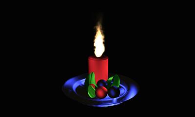 brennende, rote Adventskerze mit Weihnachtsschmuck auf einen blauen Glasteller