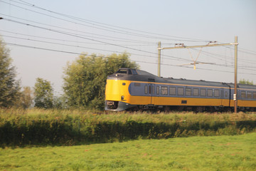 Intercity train in Zwolle on track