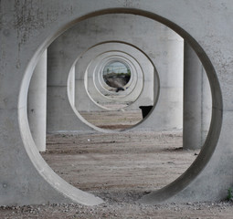 Abstract circles in pillar of rairoadbridge in Gouda