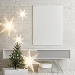 Mock up poster on table, Christmas decoration, 3d render, 3d illustration