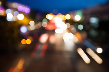 blurry background bokeh of traffic with night light