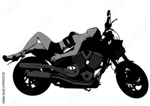 Wall mural Motorcycl and baeuty women on white background