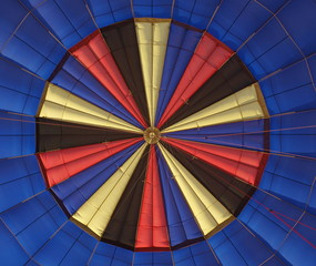 colors of a aerostat, taken from the under the balloon