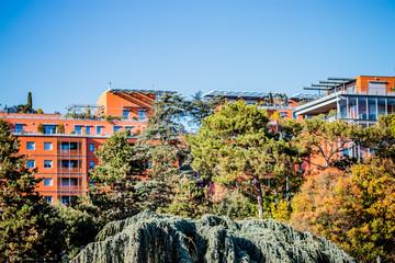 La Cité Internationale vue du Parc de la Tête d'or