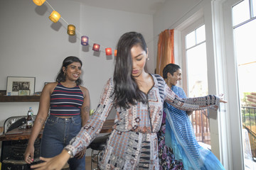 Young women dancing at a party