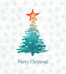 Greeting card with christmas tree and big star hand drawn with ink