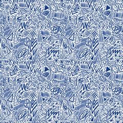 Geometric doodle hand drawn seamless pattern. Random decorative elements. Vector illustration