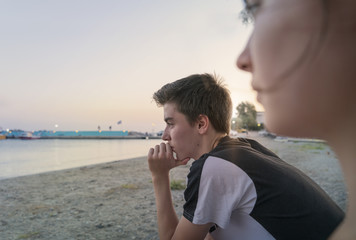thoughtful young man look at the sea