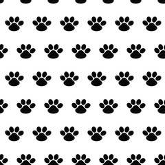 Animal footprint. Seamless vector pattern with traces of dogs on white