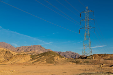 High-voltage transmission line in the Sinai mountains