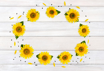 Frame of flowers sunflower (Helianthus annuus) with leaves, petals and seed on background of white painted wooden planks. Top view, flat lay.