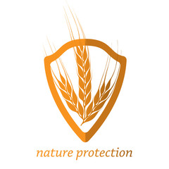 Nature protection. Shield with a crop on a white background