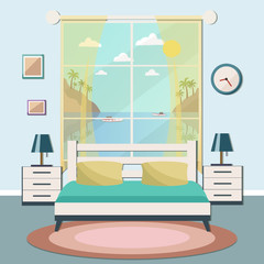 Hotel room with a sea view. Vector flat illustration