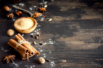 Christmas bakery background with spices